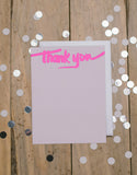 Silver and Hot Pink Foil Thank You Cards