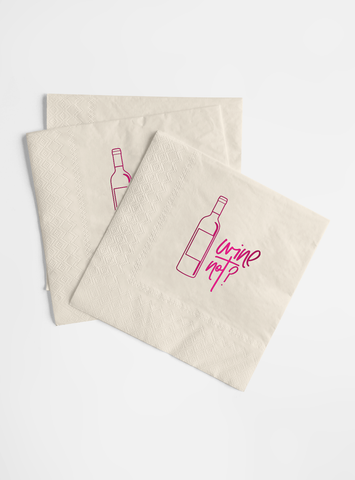 Hot Pink Foil and Cream Napkin Set - Wine Not?