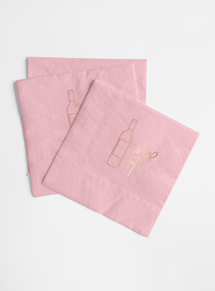 Rose Gold Foil and Pink Napkin Set - Wine Not?