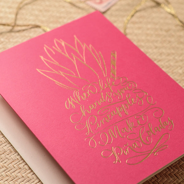 Calligraphy Pina Colada Pineapple Card
