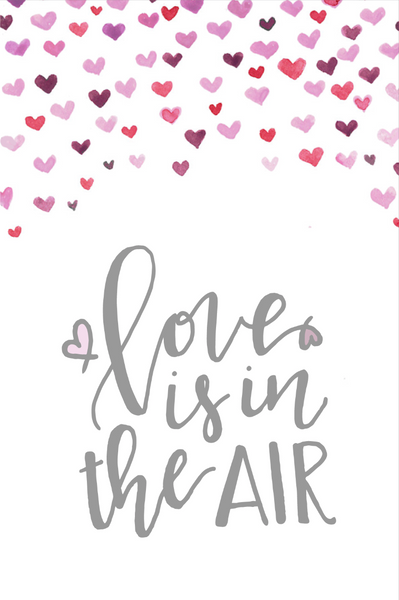 love is in the air calligraphy valentines day card