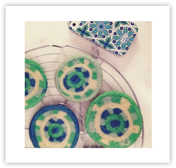 Verde Bonita Cookies on the cooling rack beside their inspiration!