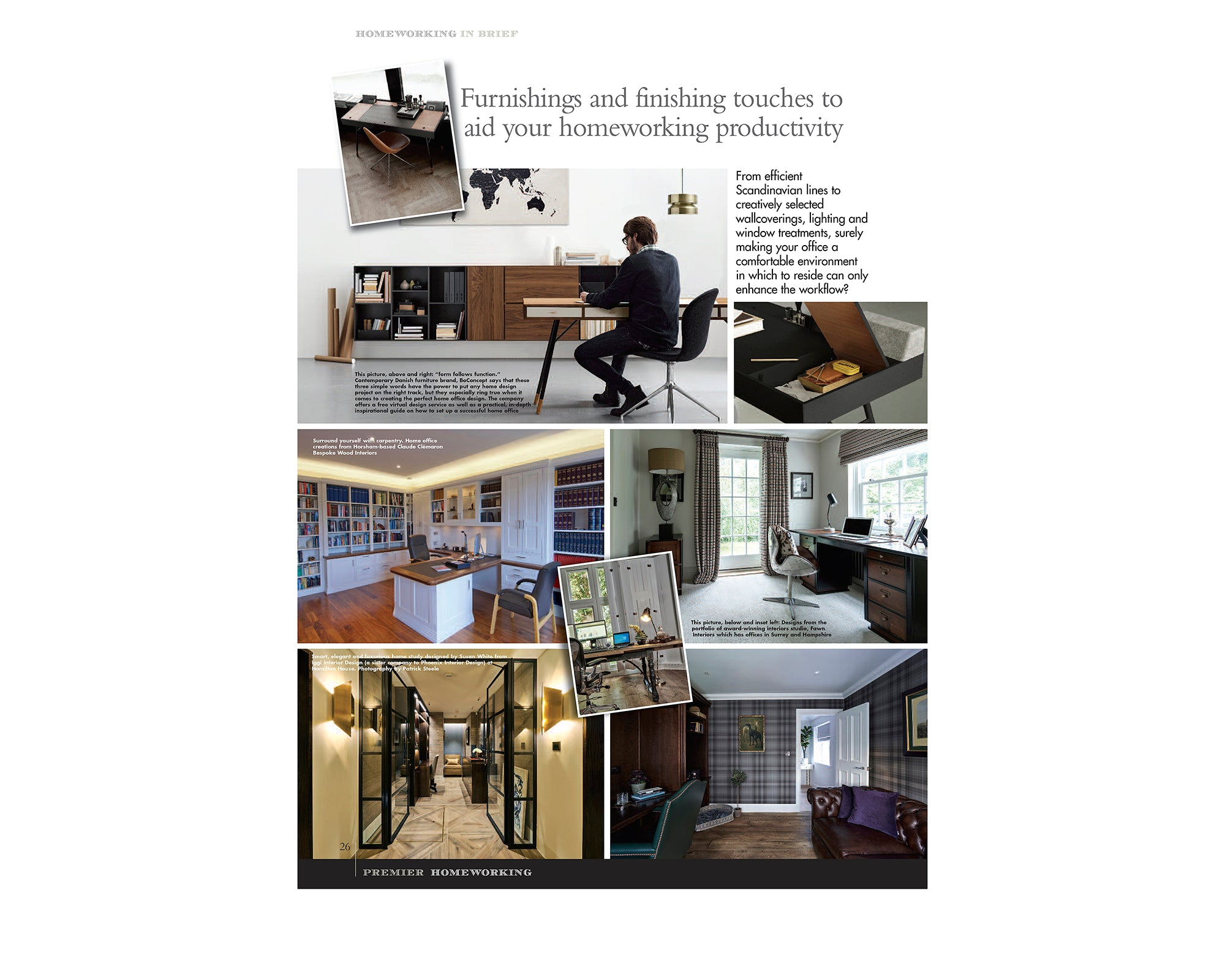 Press feature on home offices in Premier Magazine, Surrey