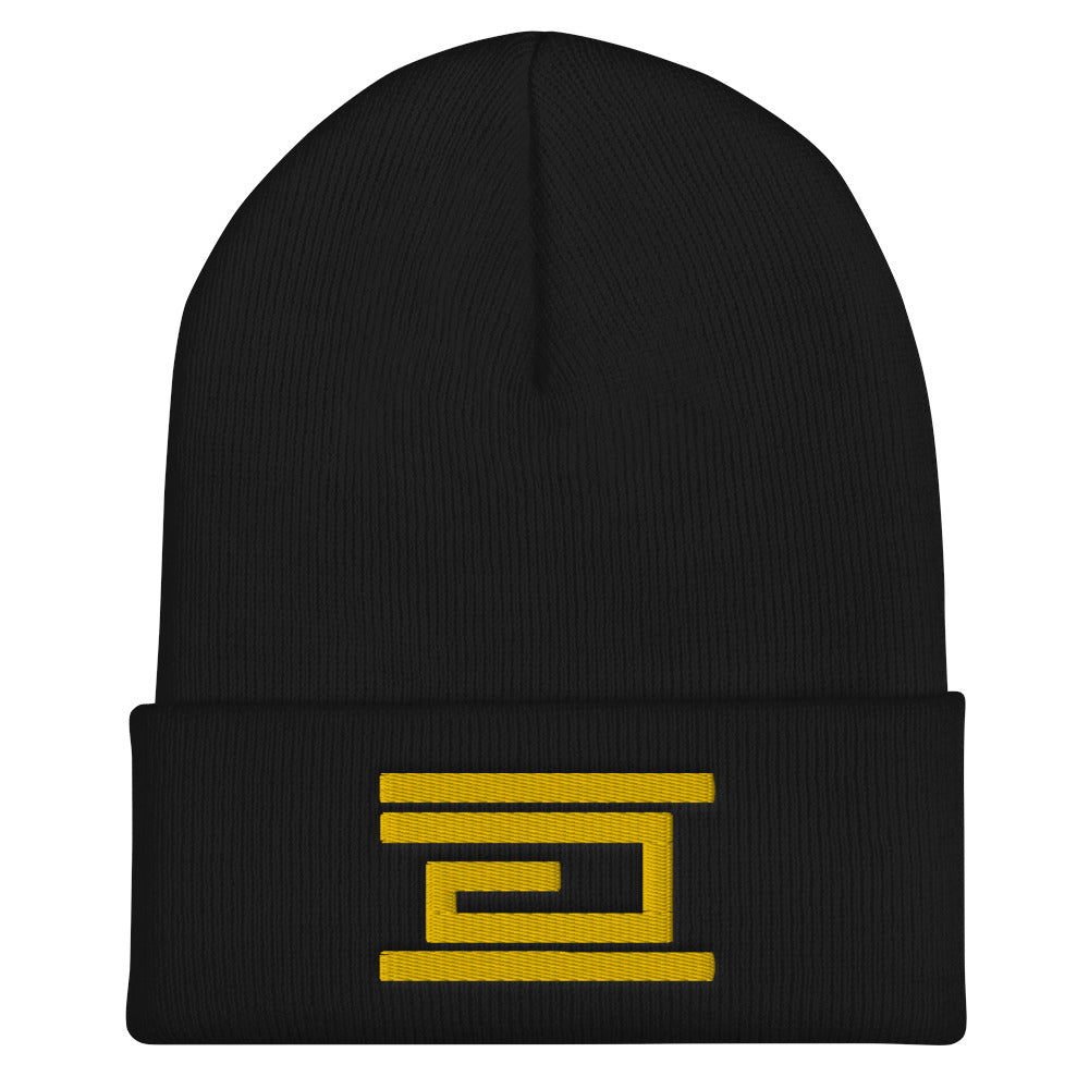 Yellow Embroidery Cuffed Beanie