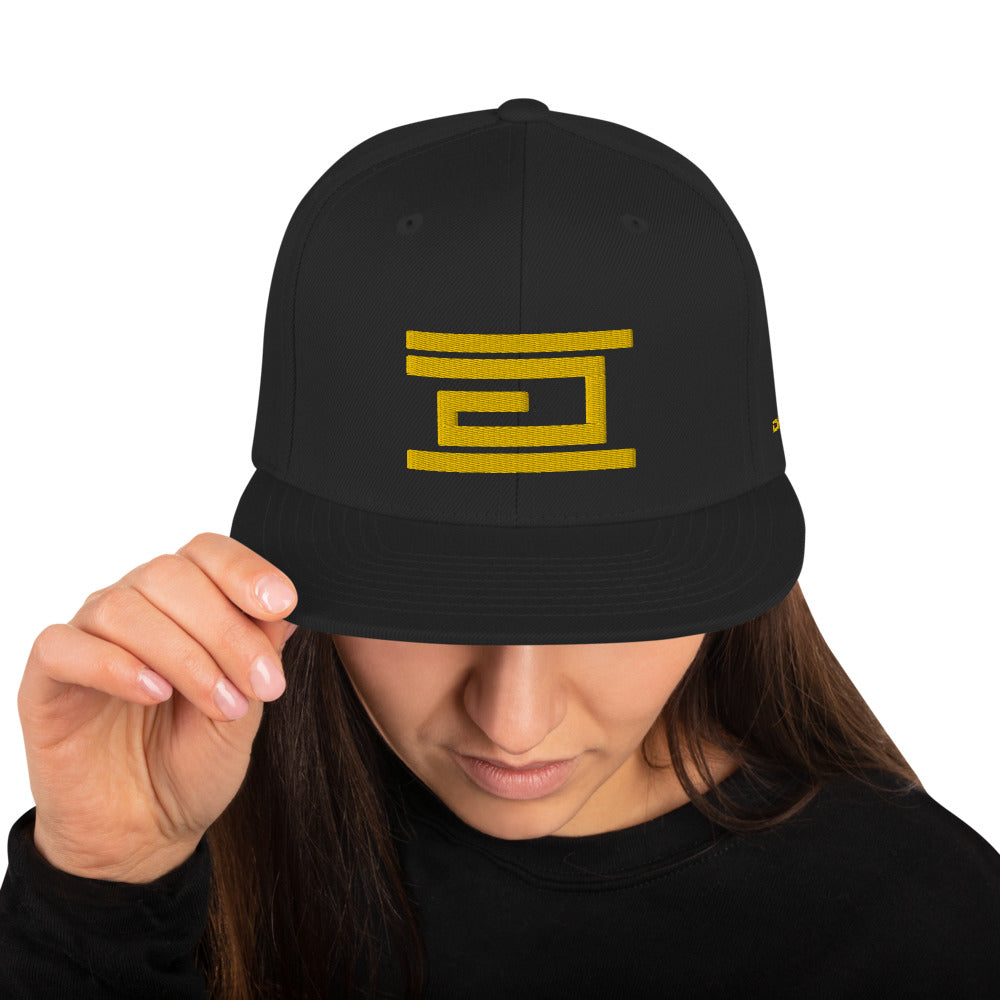 Yellow Embroidered Classic Snapback