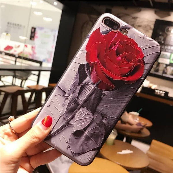 Стилен 3D калъф с роза за iPhone X / 7 / 8 / 7 Plus / 8 Plus