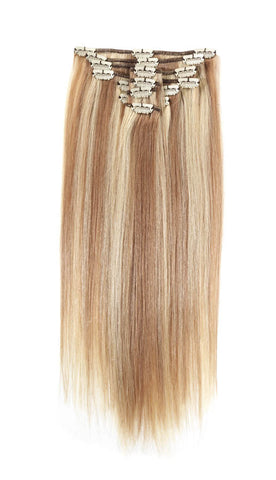 "American Pride Clip in Full Head Human Hair Extensions 18"" Blonde Bronze Blend (27-613) - Beauty Hair Direct"