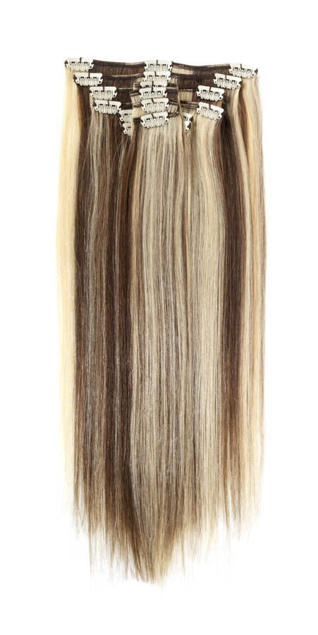 "American Pride Clip in Full Head Human Hair Extensions 18"" Light Brown Sunshine (6-24) - Beauty Hair Direct"