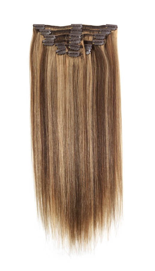 "American Pride Clip in Full Head Human Hair Extensions 18"" Light Brown Caramel Blonde (6-25) - Beauty Hair Direct"