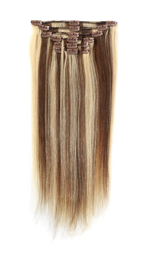 "American Pride Clip in Full Head Human Hair Extensions 18"" Light Brown Starlight (6-613) - Beauty Hair Direct"