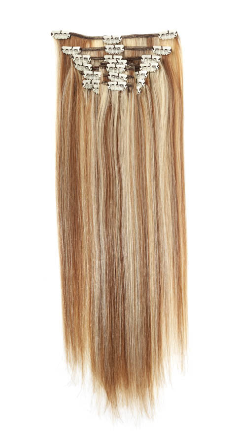 "American Pride Clip in Full Head Human Hair Extensions 22"" Mocha Blonde Blend (8-22) - Beauty Hair Direct"