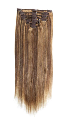 "American Pride Clip in Full Head Human Hair Extensions 18"" Brown Blonde Blend (4-27) - Beauty Hair Direct"