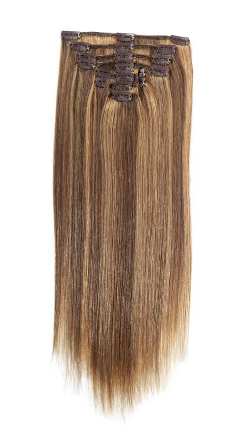 American Pride Clip In Full Head Human Hair Extensions 18 Brown And