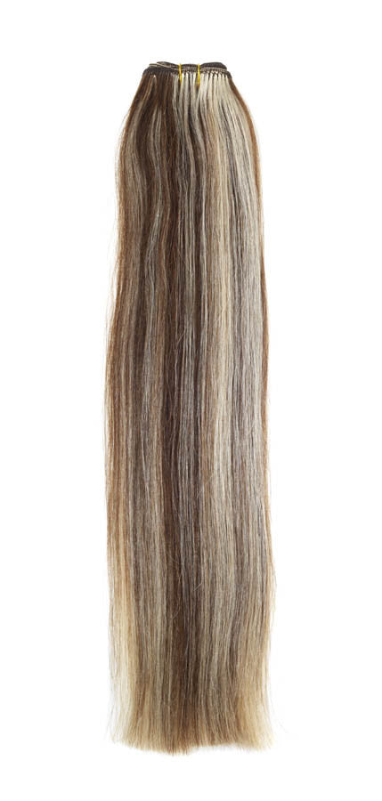 "American Pride Euro Weave Human Hair Extensions 18"" Brown and Sunshine Blond Mix (8/22) - Beauty Hair Direct"