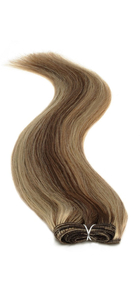 "American Pride Euro Weave Human Hair Extensions 18"" Darkest Brown Starlight (2/613) - Beauty Hair Direct"