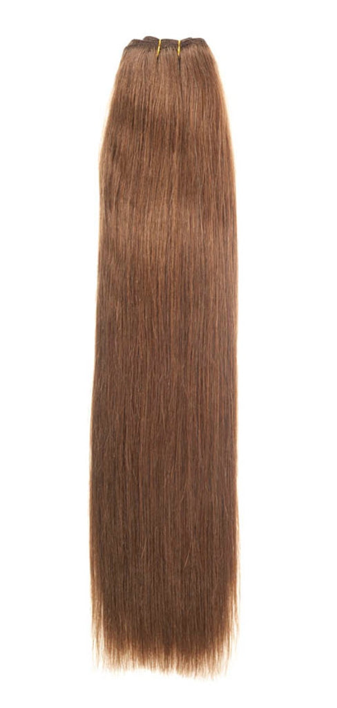 "American Pride Euro Weave Human Hair Extensions 18"" Light Brown (6) - Beauty Hair Direct"