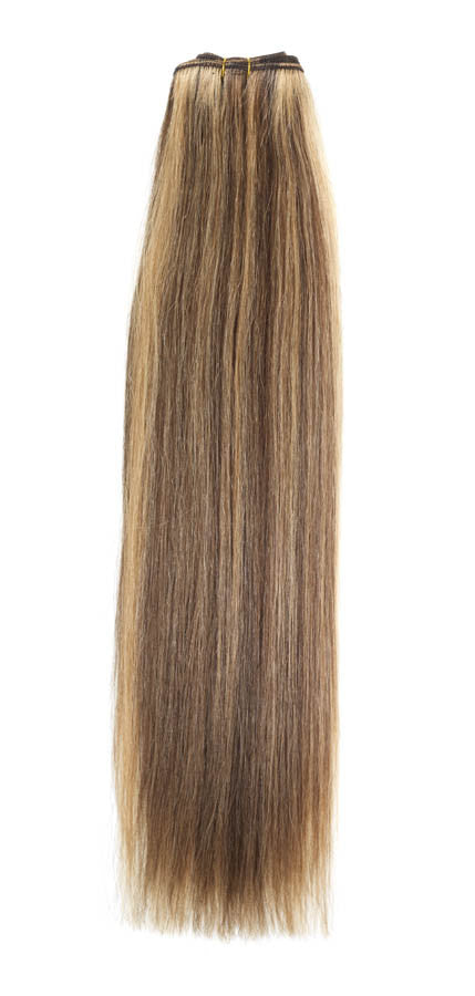 "American Pride Euro Weave Human Hair Extensions 18"" Light Brown Golden Blonde Mix (6/25) - Beauty Hair Direct"