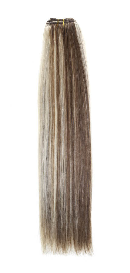 "American Pride Euro Weave Human Hair Extensions 18"" Light Brown / Starlight Blonde (6/613) - Beauty Hair Direct"