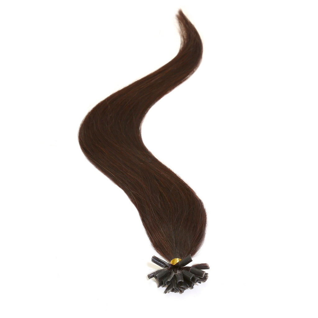 "American Pride Keratin Pre Bonded Hair Extensions | Nail Tip | U Tip 18"" Barely Black (1b) - Beauty Hair Direct"