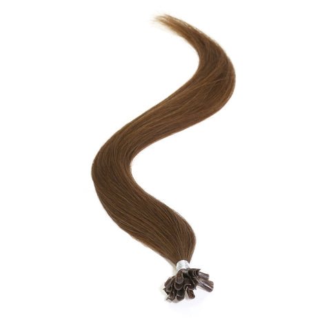 "American Pride Keratin Pre Bonded Hair Extensions | Nail Tip | U Tip 18"" Light Brown (6) - Beauty Hair Direct"