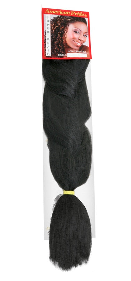 American Pride Synthetic Super Jumbo Braid Hair Extensions Barely Black (1b) - Beauty Hair Direct