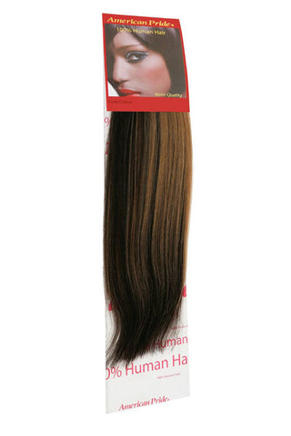 "American Pride Yaki Weave Human Hair Extensions 12"" Black Blonde Mix / Highlights (1B-27) - Beauty Hair Direct"