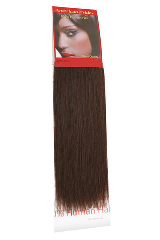 "American Pride Yaki Weave Human Hair Extensions 12"" Brownest Brown (2) - Beauty Hair Direct"
