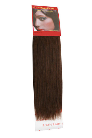 "American Pride Yaki Weave Human Hair Extensions 12"" Brown (4) - Beauty Hair Direct"