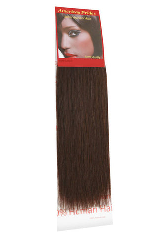 "American Pride Yaki Weave Human Hair Extensions 10"" Brownest Brown (2) - Beauty Hair Direct"