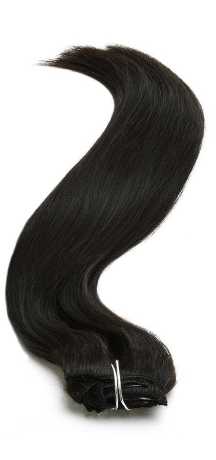 "Aphrodite Brazilian Untreated Clip in Hair Extensions Full Head 18"" Natural Black - Beauty Hair Direct - 1"