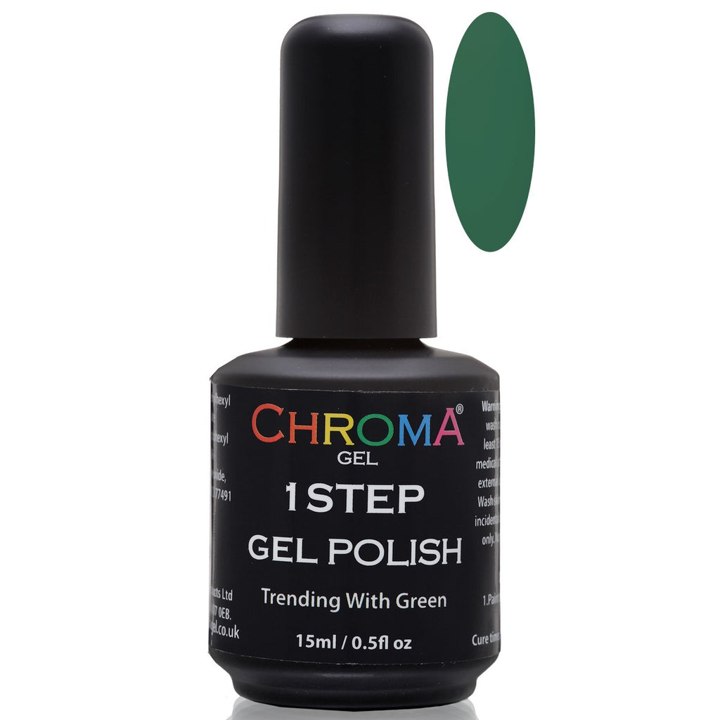 Chroma Gel 1 Step Gel Polish Trending With Green 15 ml - Beauty Hair Direct