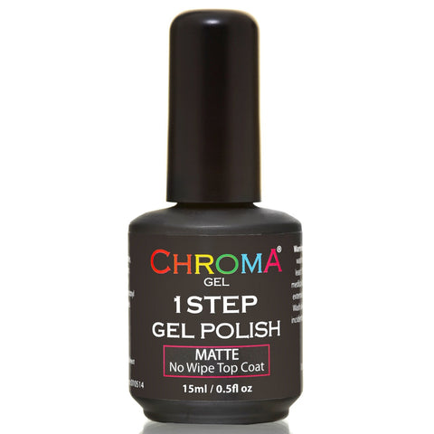 Chroma Gel 1 Step Matte No Wipe Top Coat 15ml - Beauty Hair Direct