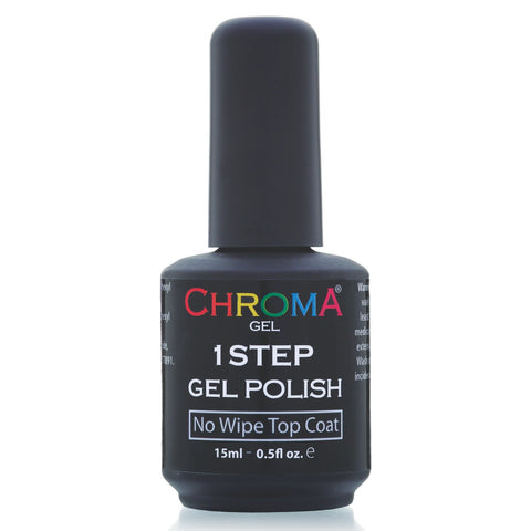 Chroma Gel 1 Step No Wipe Top Coat 15ml - Beauty Hair Direct