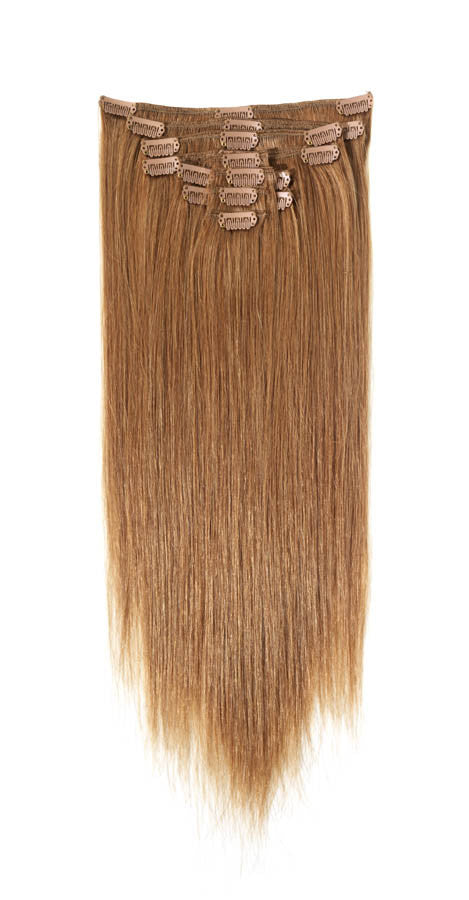 "American Pride Clip in Full Head Human Hair Extensions 18"" Golden Blonde (12) - Beauty Hair Direct"