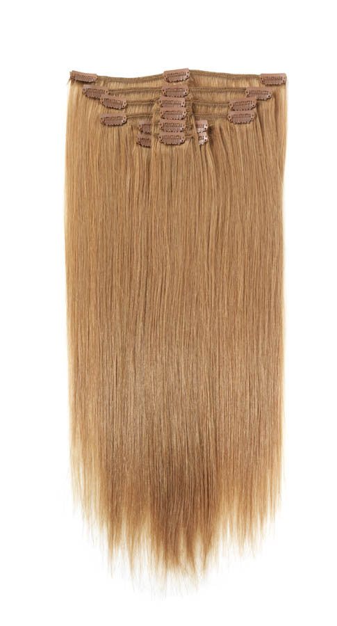 "American Pride Clip in Full Head Human Hair Extensions 18"" Honey Blonde (14) - Beauty Hair Direct"