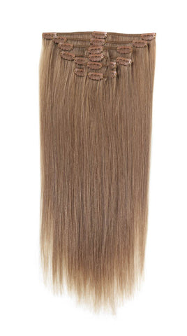 "American Pride Clip in Full Head Human Hair Extensions 18"" Mosey Brown (18) - Beauty Hair Direct"