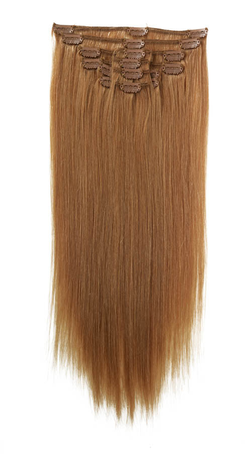 "American Pride Clip in Full Head Human Hair Extensions 22"" Caramel Blonde (25) - Beauty Hair Direct"