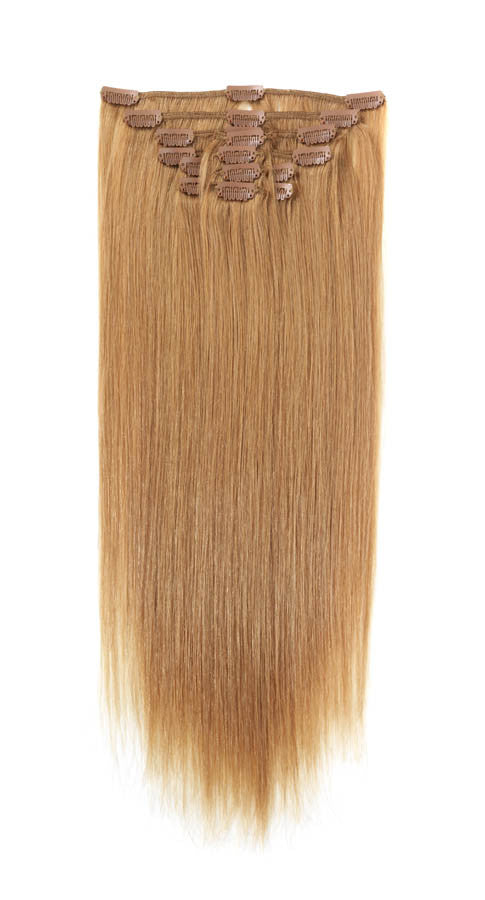 American Pride Clip In Full Head Human Hair Extensions 22 Blonde