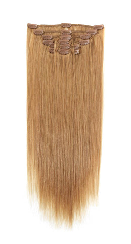 "American Pride Clip in Full Head Human Hair Extensions 18"" Blonde Dream (27) - Beauty Hair Direct"