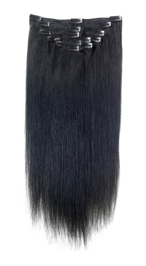 American Pride Clip In Full Head Human Hair Extensions 22 Jet Black