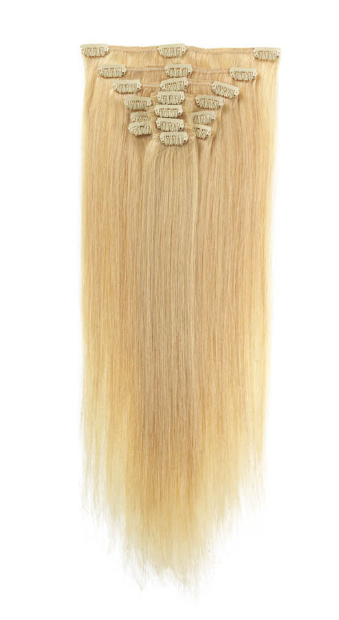 "American Pride Clip in Full Head Human Hair Extensions 18"" Sunshine Blonde (24) - Beauty Hair Direct"