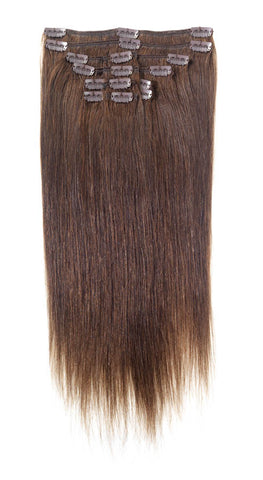 "American Pride Clip in Full Head Human Hair Extensions 22"" Darkest Brown (2) - Beauty Hair Direct"