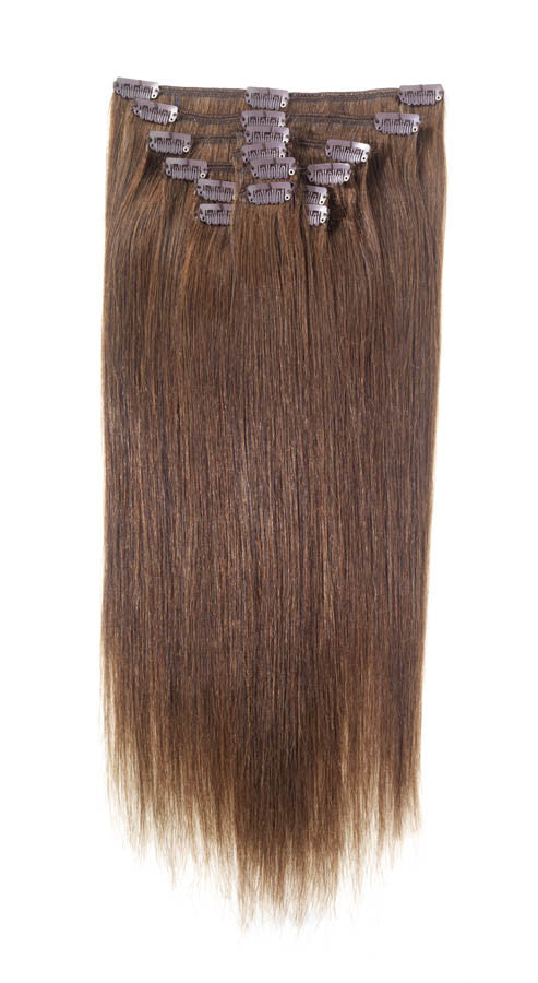 "American Pride Clip in Full Head Human Hair Extensions 22"" Dark Brown (3) - Beauty Hair Direct"