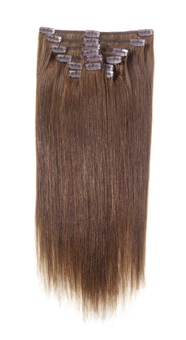 "American Pride Clip in Full Head Human Hair Extensions 18"" Dark Brown (3) - Beauty Hair Direct"