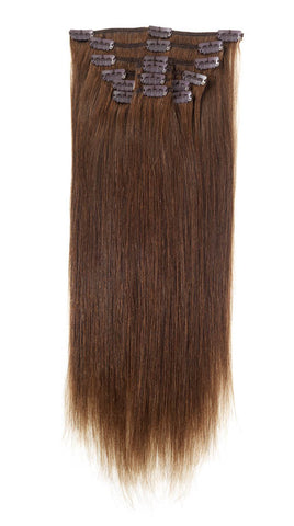 "American Pride Clip in Full Head Human Hair Extensions 18"" Mocha Brown (4) - Beauty Hair Direct"