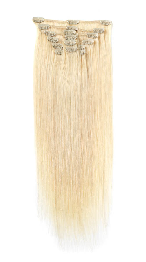 "American Pride Clip in Full Head Human Hair Extensions 18"" Sunkissed Blonde (613) - Beauty Hair Direct"