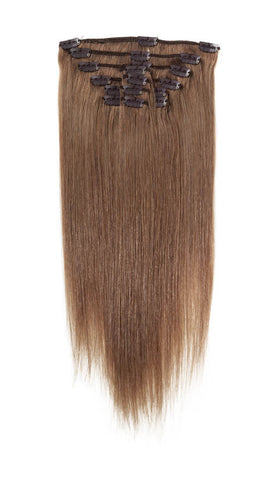 "American Pride Clip in Full Head Human Hair Extensions 18"" Mousey Brown (8) - Beauty Hair Direct"