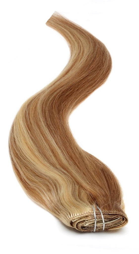 "American Pride Clip in Full Head Human Hair Extensions 18"" Sun-Kissed Brown Blonde (10-613) - Beauty Hair Direct"