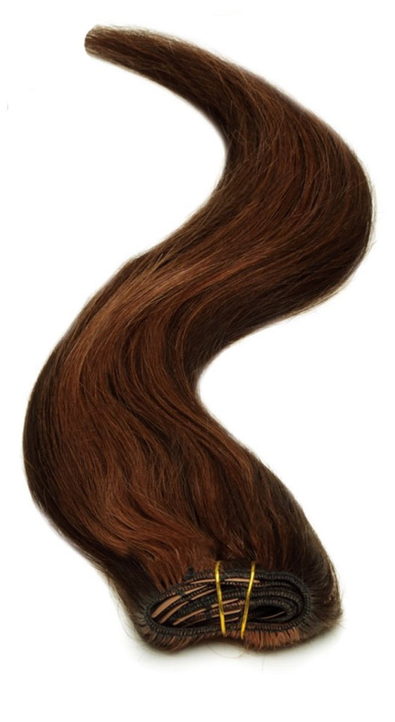 "American Pride Clip in Full Head Human Hair Extensions 18"" Reddish Black (1B-33) - Beauty Hair Direct"