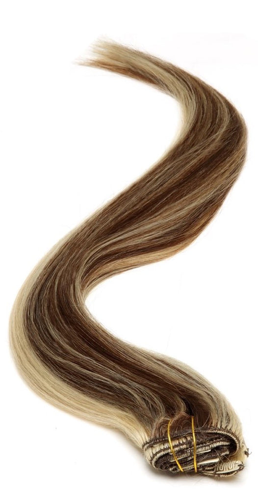 "American Pride Clip in Full Head Human Hair Extensions 22"" Mocha Brown Starlight (4-613) - Beauty Hair Direct"